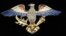PATRIOTIC USA  RED WHITE AND BLUE ENAMEL & RHINESTONE EAGLE   BROOCH  PIN