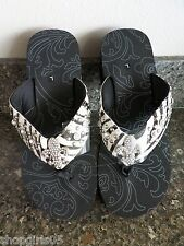 NEW!  FLEUR DE LIS ZEBRA PRINT  FLIP FLOPS  SANDALS SIZES 9/10 - LARGE