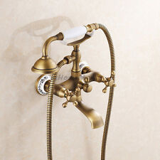 Antique Brass Bathroom Bath Shower Mixer Tap Kit With Telephone Handheld Spray