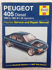 Haynes Workshop Manual Peugeot 405 (diesel) from 1988 to 1996.