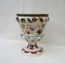 ANTIQUE HAND PAINTED ART POTTERY OIL LAMP BASE - ZSOLNAY PECS