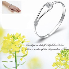 925 Sterling SILVER PLATED Cuff Bracelet Bangle Wristband Women Fashion Jewelry