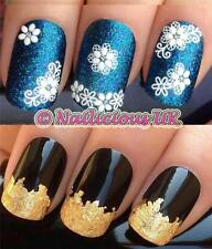NAIL ART SET #536 LACE FLOWERS/TIPS/GLITTER STICKERS/DECAL/TRANSFERS & GOLD LEAF
