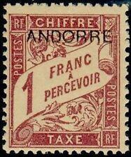 """ANDORRA FRANCESE BOLLO FRANCOBOLLO TASSA N° 6 """" DI 1893 1F """" NUOVO xx TTB"""