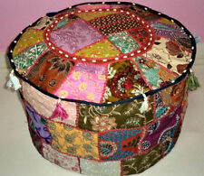 HANDMADE ROUND SEATING POUF COVER FOOT STOOL BOHEMIAN PATCHWORK OTTOMAN