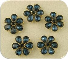 2 Hole Beads Happy Flowers Montana Blue Swarovski Crystal Elements Sliders QTY 5