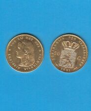 Pays-Bas Netherlands  WILHELMINA  ( 1837-1901) 10 Florins or 1897 Cheveux longs