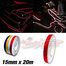 15mm x 20m 65ft REFLEKTIERENDE Auto Zierstreifen AUFKLEBER Dekorstreifen ROT RED