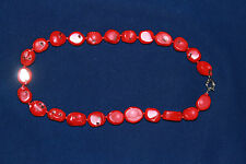 GLOSSY RED CORAL BEAD NECKLACE WITH LARGE SPRING CLASP
