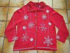 Reference Point Pretty Ugly Christmas Sweater Red Silver Snowflakes Beaded SZ L