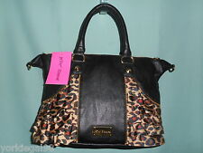 Betsey Johnson Mini Ruffled Out Leopard and Black Tote Satchel Bag New With Tag