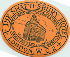 Shaftesbury Hotel ~LONDON~ Great Early Luggage Label, circa 1925