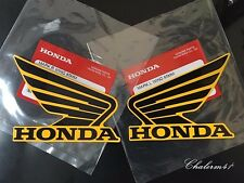 HONDA GENUINE WING - Black Yellow  - 2X 85 mm B6H27 STICKER DECAL PLATE EMBLEM