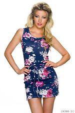 Sexy Latina Mini-robe robe bretelle robe fleurs flower fleuris bleu 34 36 38