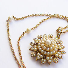 Very Fine Antique Victorian 18ct Gold & Nat Pearl Star Necklace - Heavy Quality