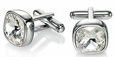 Fred Bennett 1/2oz Stainless Steel & Clear Swarovski Crystal Square Cufflinks