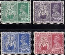 INDIA 1946 KGVI VICTORY SET OF 4 STAMPS MINT LH WHITE GUM OMNIBUS VERY FINE