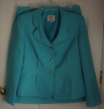 LE SUIT Sz 12 2 piece Robin Egg Blue Jacket and Skirt Suit Set