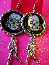 Day Of The Dead Sugar Skull With Walking Dead Zombie Dangle Charm Earrings #48