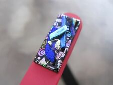 "Pink Czech Crystal Glass Nail File adorned with Dichroic Glass 5 1/2"" File New"