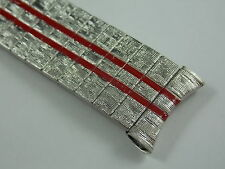 Vintage Unused 17.5mm stainless steel watch band with red racing stripes