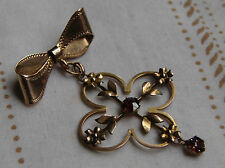 A Very Pretty Edwardian, Art Nouveau, 9 Ct Gold Brooch and Garnet Set Pendant