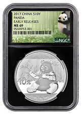 2017 China 10Y 30g Silver Panda NGC MS69 ER Panda / Black Core PRESALE SKU43853