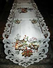 "Cornucopia & Autumn Leaves Thanksgiving & Fall Decor Lacy Table Runner 68""x13"""