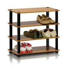 FURINNO Furinno Turn-S-Tube 4-Tier Shoe Rack, Light Cherry/Black 13081LC/BK NEW