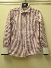 £59 JACK WILLS BURGUNDY RED STRIPE BUTTON DOWN SHIRT BLOUSE TOP UK 8 US 4 EU 36