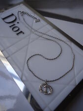 DIOR LOGO LUCKY HORSESHOES SWAROVZKI PENDANT SILVERTONE 36cm NECKLACE NEW NO BOX