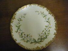 Vintage Hand Painted T&V Limoges Plate, White Lillies Gold Trim on a Cream Plate
