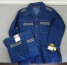 NEW Vintage Wrangler Wrapid Transit 70's Denim Shirt & Pants Set NWT Large Juter