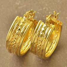 New Beautiful High End Design 9K Yellow Gold Filled Round Hoop Earrings