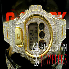 Full Iced Out Men's G Shock Watch G Shock Lab Diamond Yellow Gold Finish  DW6900