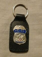 Amtrak Railroad Police Department Badge Key Chain on Leather Strap