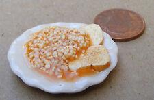1.12 échelle 3,5 cm Plaque de haricots sur toast dolls house miniature accessoire alimentaire