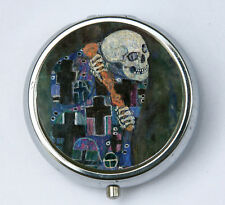 Klimt Death PiLL case pillbox pill holder Art Nouveau fine art painting skull