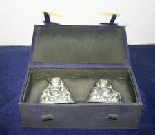 JAPANESE BUDDHA FIGURAL SALT & PEPPER SHAKERS NOT SILVER  w/ Case & Ivory Latch