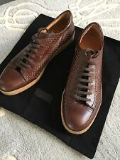 Dries Van Noten Men Perforated Brown Leather Trainers Sneakers New Size 43