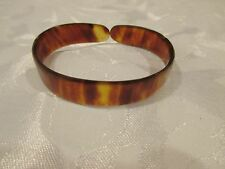 Vtg  Faux Tortoise Shell Celluloid Antique Victorian Slit Back Bangle Bracelet