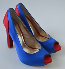 Ladies Dune Blue & Red Satin High Heeled Shoes Size UK 6