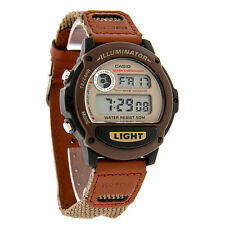 Casio W89HB-5AV, Digital Watch, Brown Nylon Band, Stopwatch, Alarm