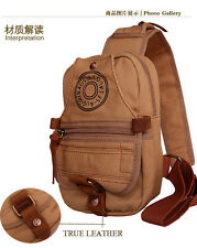 Man Vintage Canvas with Cowhide Real Leather Chest Pack Shoulder Bag b3010