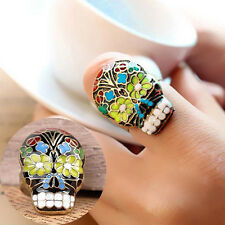 Fashion Women Flower Sugar Skull Mexican Death Rings Vintage djustable Rings
