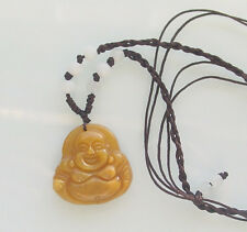 Feng Shui Happy Buddha Jade Carved Adjustable Necklace 4 Good Luck & Wealth New