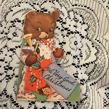 Vintage Greeting Card Christmas Bear Candy Cane Doll Die-Cut