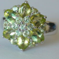Natural Peridot  Ring 27.70 ct 925 Silver,Vintage Estate Jewelry,Size 8.5