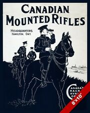 WWI CANADIAN MOUNTED RIFLES CAVALRY WAR PROPAGANDA POSTER REAL CANVASART PRINT