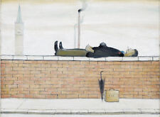 Framed LS Lowry Print – Man Lying On A Wall (Picture Painting English Artist)